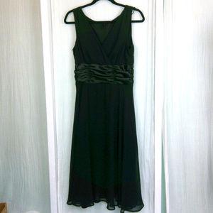 black chiffon satin formal midi dress sleeveless